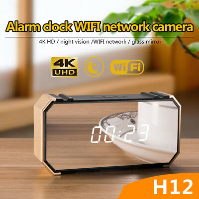 4K Hidden HD Mirror Camera 1080P WIFI Wireless Night Vision Security Alarm Clock