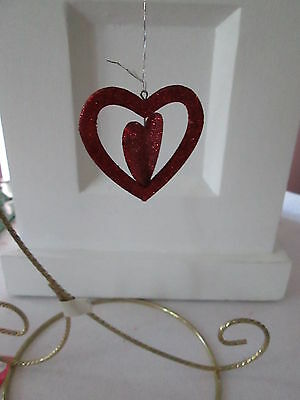 Pkg of 6- Red Glitter Spinner Heart Valentines Day Ornaments, 2 inch NEW