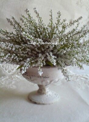 Shabby Cottage Metal Urn Planter CREAM Faux Heather Garden Chippy French Country
