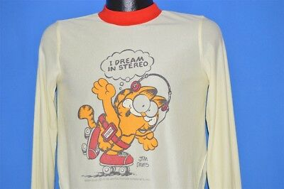 vintage 70s GARFIELD DREAM IN STEREO ROLLER BLADE SLEEP SHIRT t-shirt YOUTH XL