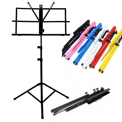 Music Sheet Stand Stage Musical Notes Holder Adjustable Iron Tripod W/Carry Case