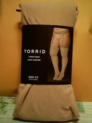 497a69d06 Torrid Hot Topic Nude Faux Garter Opaque Thigh High Tights Plus Size 1 2 New
