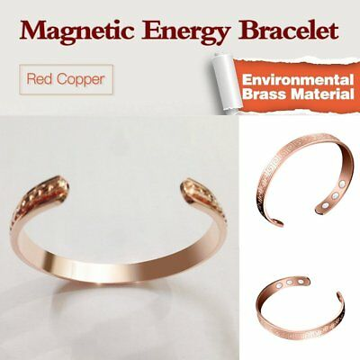 Mens Women Magnetic Therapy Bracelet Arthritis Pain Relief Pure Copper Bangle SY