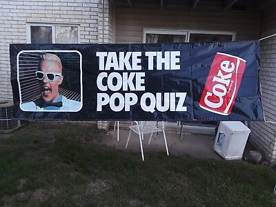 Max headroom Coca cola banner POP QUIZ 1987 Very rare unusual large.