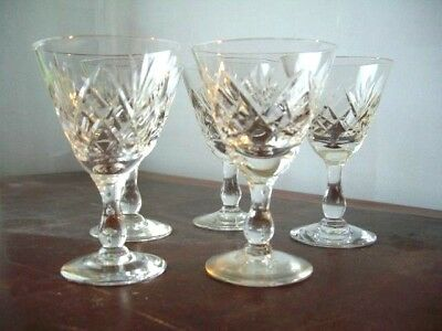 Crystal Cut Glass Sherry/port Glasses Set Of 5 - (10.5 Cms Tall)