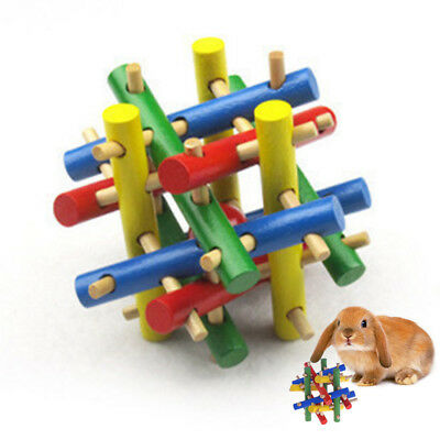 1X Colorful Wood Pet Rabbit Hamster Exercise Training Toy Knot Nibbler Chew/Bite