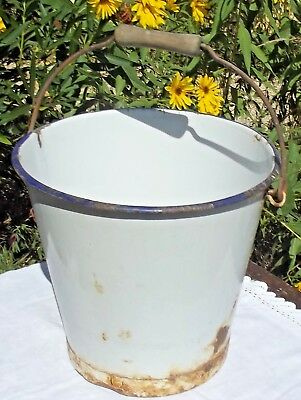 Large Vintage French Enamel Bucket White and Blue pail Antique Kitchen Garden