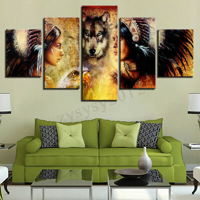 Indian Woman Wolf Canvas Oil Painting Print Picture Room Wall Art Decor Unframed