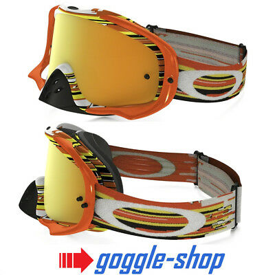 Oakley Crowbar Motocross Mx Fahrrad Brille - Glitch Orange Gelb / 24K Irdium