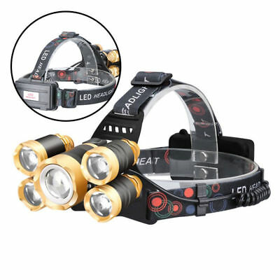 5 LED Recargable T6 Linterna Frontal Head Lámpara Antorch Luz Cabeza faro IPX4