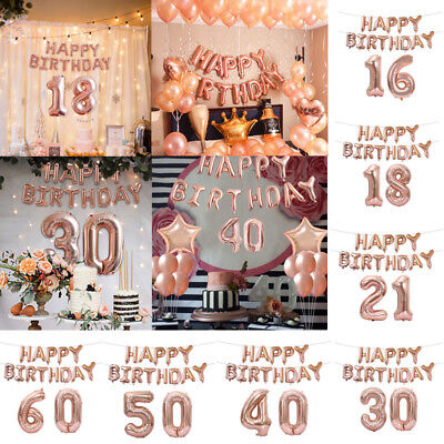 15 Letter Rose Gold Foil Alphabet Number & HAPPY BIRTHDAY Self Inflating Ballons