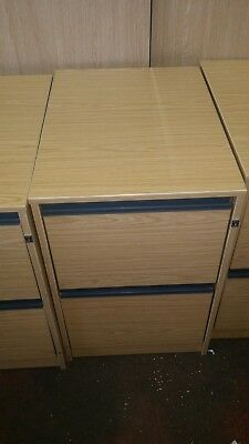 Two drawer wooden filing cabinet no keys