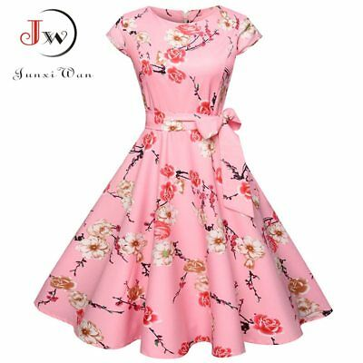 Women Summer Spring Floral Dress 50s Vintage Casual Retro Rock Frock oNeck Party