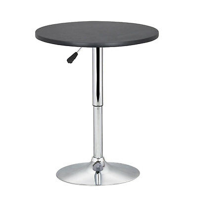 Bar Table Round Black Height Adjustable Swivel Chrome Base Sofa Side Bar Coffee