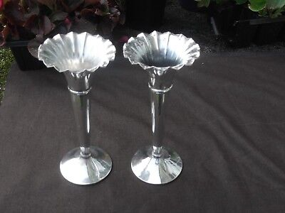 1900 attractive late Victorian solid silver vases nice condition 18cms high