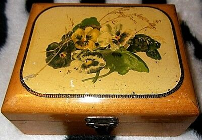 Pansies & oats SCOTTISH MAUCHLINE WARE SEWING COTTON BOX-2 SECTIONS; FULL CLIP