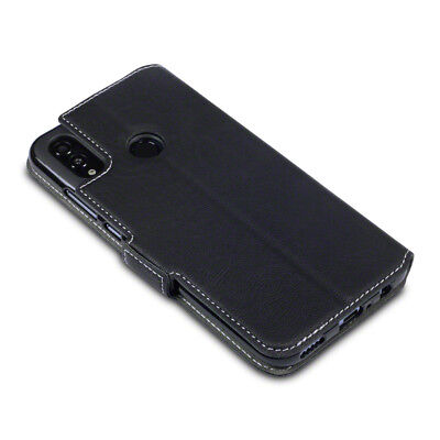 Ultra Slim PU Leather Wallet Case for Huawei P Smart 2019 - Black