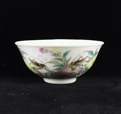 chinese antique porcelain famille rose cricket and flowers bowl 19th century