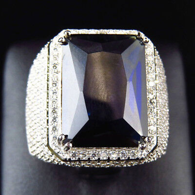 Men Women Big Rectangular Cubic Zirconia Plated Finger Ring Jewelry Party Envy