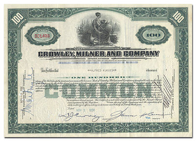 Crowley, Milner and Company Stock Certificate (Detroit Retailer)