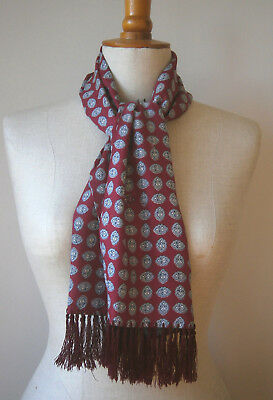VINTAGE 1950s BURGUNDY, BLACK & GREY PAISLEY MENS RAYON SCARF GOODWOOD TOOTAL?