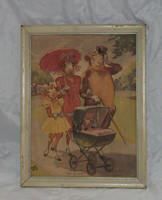 """Elsie The Cow, Elmer, Beulah 3D Puffy Picture """"The Strollers"""" Walter Early"""