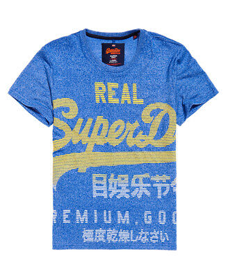 New Mens Superdry Premium Goods Fade T-Shirt Jet Blue Grit