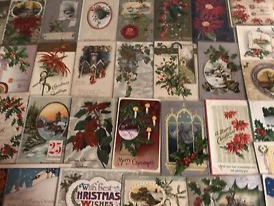 Nice Big  Lot of 50 Vintage Antique Christmas Holiday Postcards-in Sleeves-a201