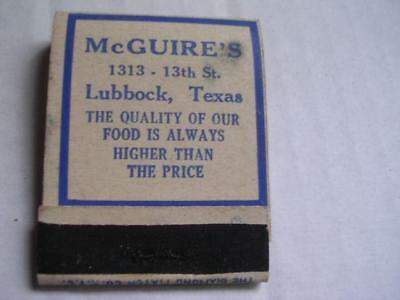 1930's Mcguire's 1313 13th St Phone 1313 Lubbock Texas (w/ 19) Matchbook TX