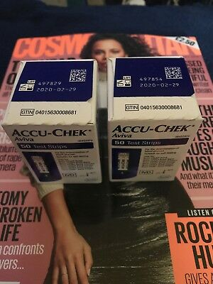 accu chek aviva test strips 2 boxes of 50, 100 in total, new & sealed, free P&P