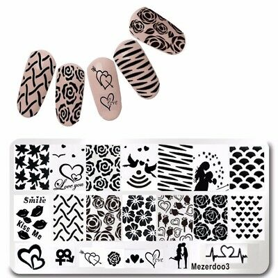 Nail Art Stamping Plate Image Decoration Valentines Day Love Hearts (mez003)