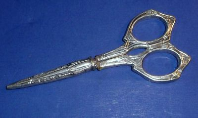small pair of antique sterling silver handle sewing scissors