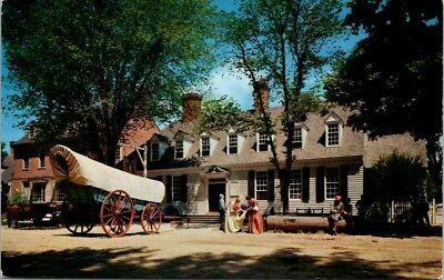 Postcard Virginia VA Williamsburg The Raleigh Tavern Covered Wagon Horses H-8