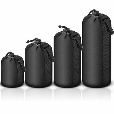 High Quality 4PCS DSLR Camera Soft Lens Covers Pouch Protector Padded Bag Case