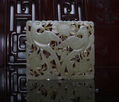 Old Chinese Celadon Hollow Carved Nephrite Hetian Two Phoenix Jade Pendant
