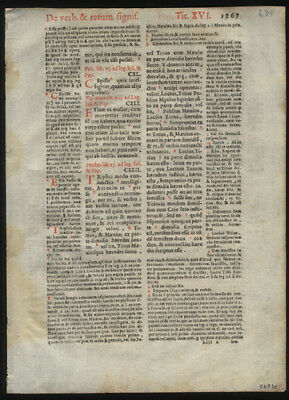 1591 Early Printing Leaf Lot (4)  Roman Emperor Justinian I  Canon Law Catholic