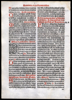 5th & 6th Sunday After Pentecost 1566  Missal Leaf  Mark 8 1-9 Loaves &  Fishs