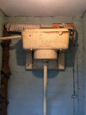 High Level pull chain toilet cistern vintage 1950,s white