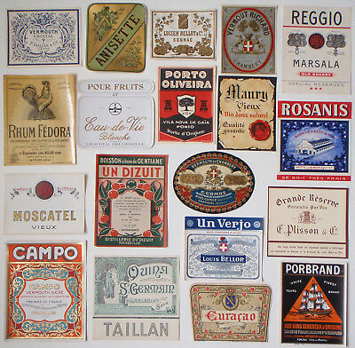 19 antique French vintage liquor bottle labels Rum Cognac Port Sherry Vermouth