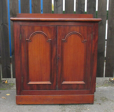 Mahogany Victorian Arch and Panelled Cabinet Sideboard Cupboard