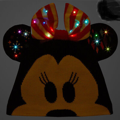 Minnie Mouse Light Up Christmas Holiday  Ear Hat Beanie Cap 3D ADULT Disney NEW