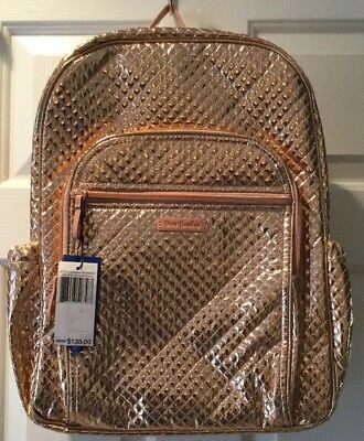 c3e23993a5 Nwt Vera Bradley Iconic Campus Backpack-Rose Gold Shimmer-23679-K05- 138