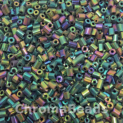 50g glass HEX seed beads - Green & Multicolour Iris, size 11/0 (approx 2mm)2-cut