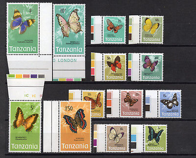 TANZANIA1973-78 BUTTERFLY DEFINITIVE PART SET 13 values MARGINALS & MNH Stamps.