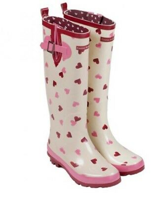 Emma Bridgwater Pink Red Hearts Wellington Boots Wellies Size 8 BNWT NEW!!