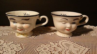"2 Baileys Irish Cream Yum His & Hers Tea Cup Set💞 Winking Couple 💕3"" YUM💞"
