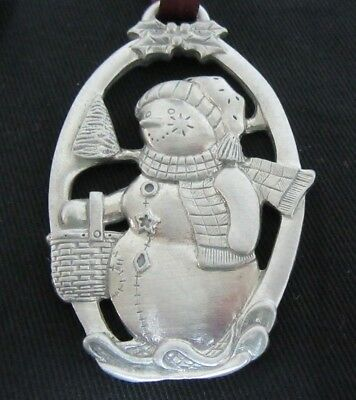 Longaberger Pewter Christmas Snowman Ornament dated 1999 VGUC   Free Shipping