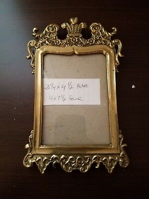Vintage Detailed Intricate Ornate Picture Frame Brass Gold Cast Metal Rare OOAK