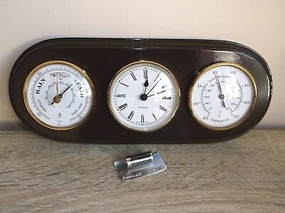 Barometer, clock, thermometer Weather Station Mahogany Finish New