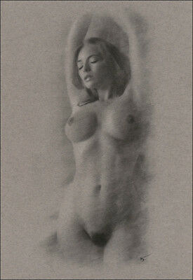 Female Nude ORIGINAL DRAWING Charcoal Art naked lady arms raised NO RESERVE n/r